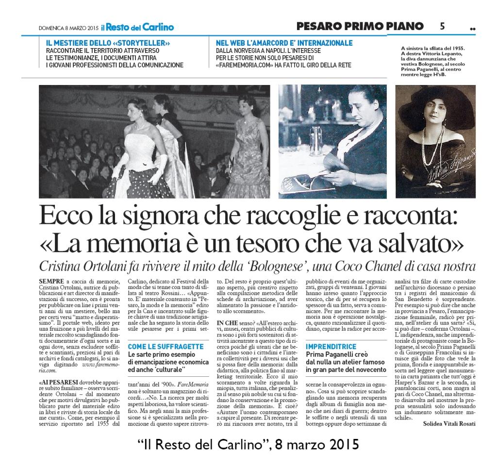 """""""Il Resto del Carlino"""", 8 marzo 2015"""